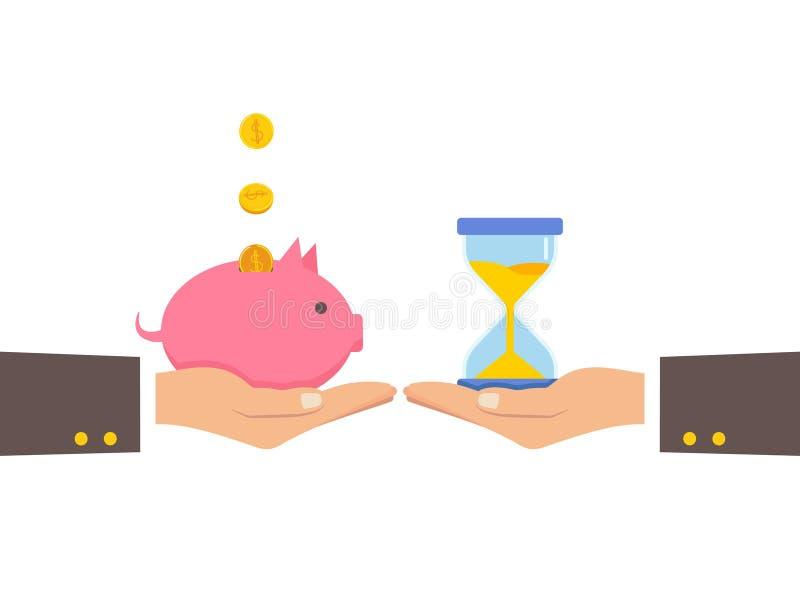 Zeit ist Geld übergeben Illustration, Leute Börsenzeit mit Geld vektor abbildung