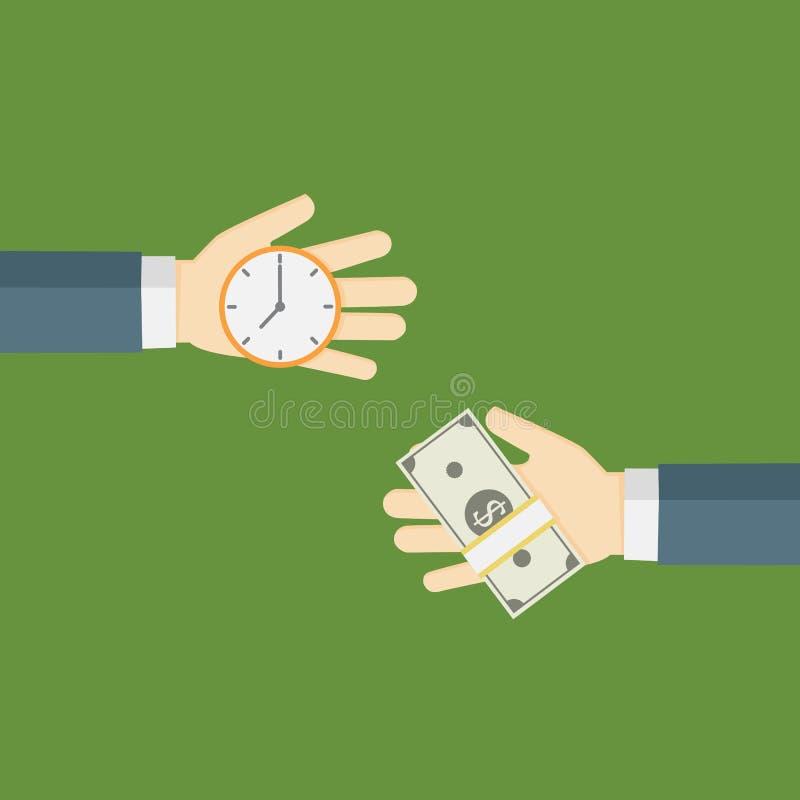 Zeit ist Geld übergeben Illustration, Leute Börsenzeit mit Geld lizenzfreie abbildung