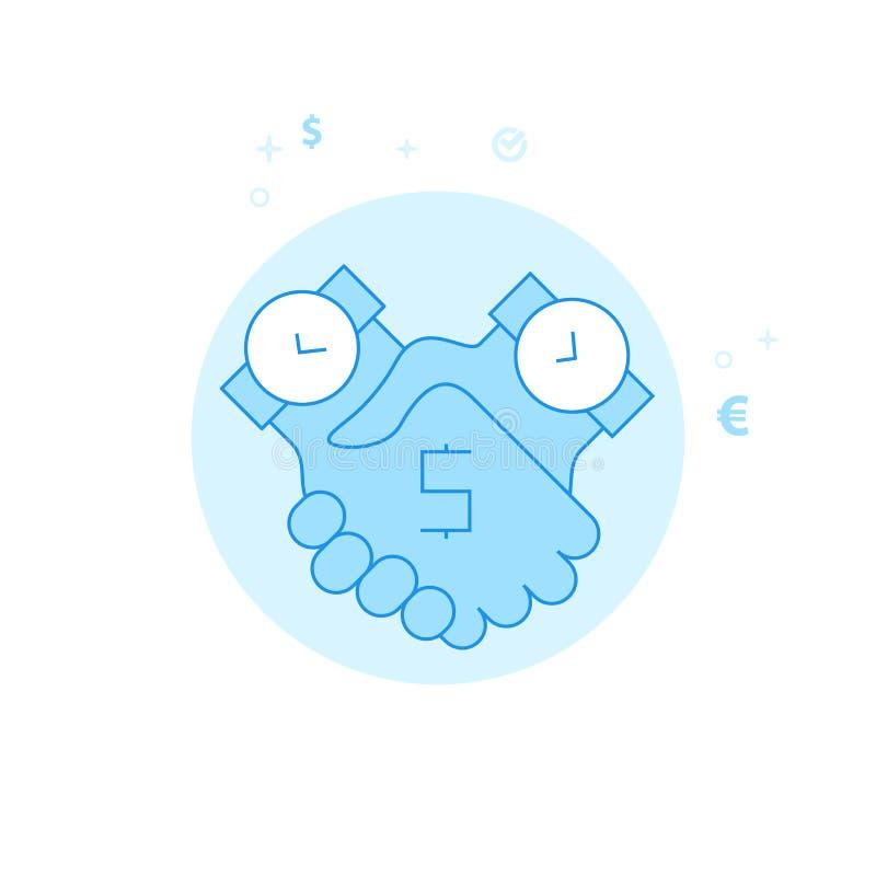 Zeit ist Geld Abkommen-flache Vektor-Illustration, Ikone Hellblauer einfarbiger Entwurf Editable Anschlag stock abbildung