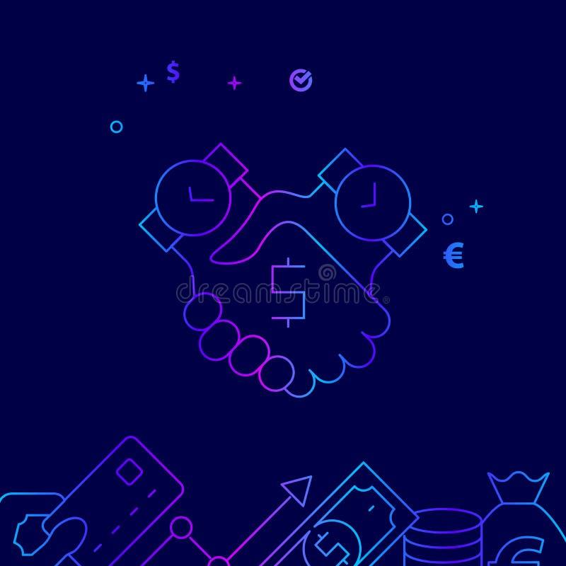 Zeit ist Geld Abkommen-Vektor-Linie Ikone, Illustration auf einem dunkelblauen Hintergrund In Verbindung stehende untere Grenze lizenzfreie abbildung
