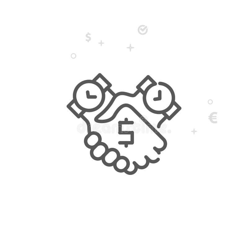 Zeit ist Geld Abkommen-Vektor-Linie Ikone, Symbol, Piktogramm, Zeichen Heller abstrakter geometrischer Hintergrund Editable Ansch lizenzfreie abbildung