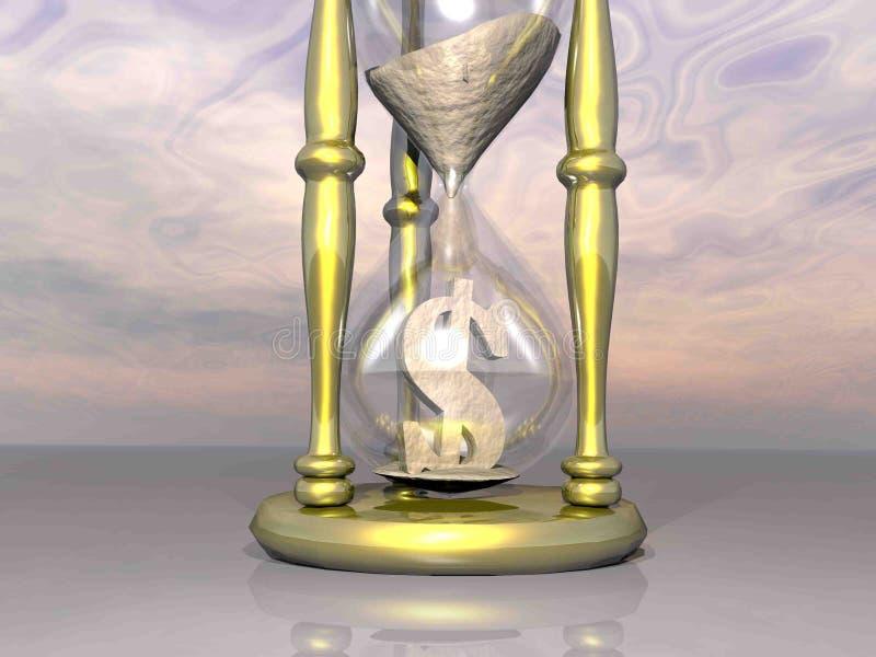 Zeit ist Geld: Goldene Sanduhr für Dollar - 3D übertragen stock abbildung