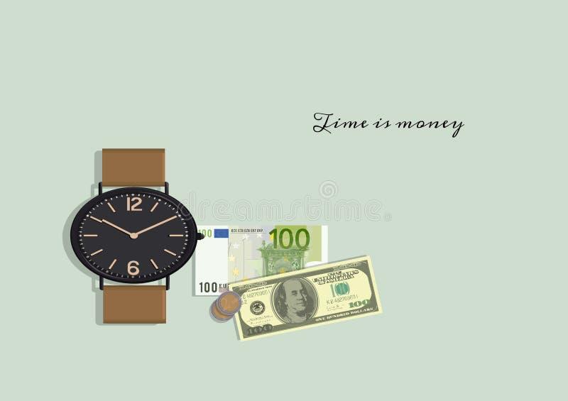 Zeit ist Geld Phrase Benjamin Franklin Autor stock abbildung