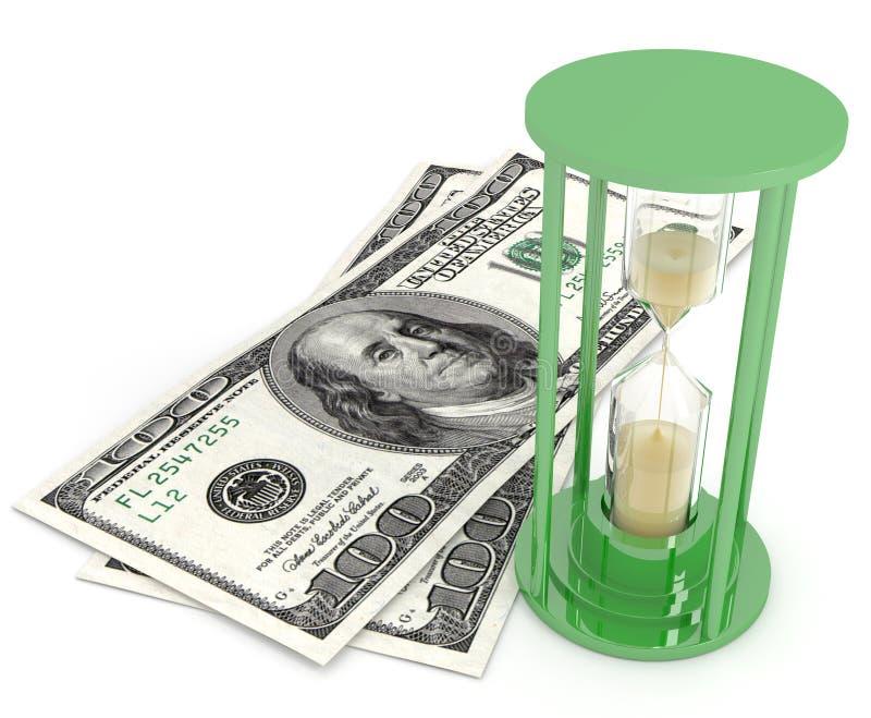 Zeit ist Geld Sandgläser und -dollar stockbilder