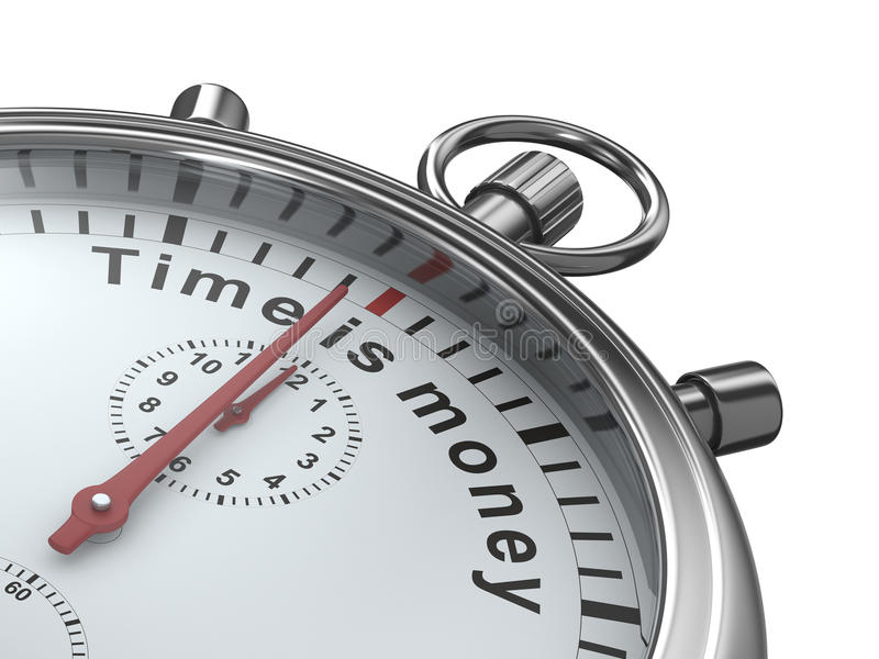 Zeit ist Geld. Stoppuhr auf weißem Hintergrund vektor abbildung