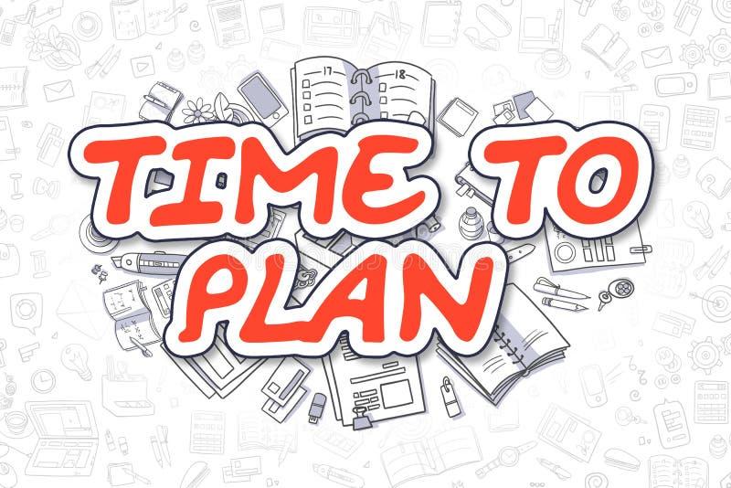 Zeit, - Karikatur-Rot-Wort zu planen Die goldene Taste oder Erreichen für den Himmel zum Eigenheimbesitze lizenzfreie abbildung