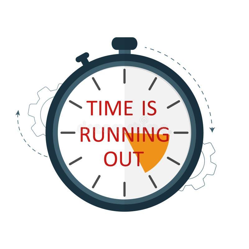Zeit lässt heraus wachsamen Stoppuhrvektor der Zeit laufen lizenzfreie abbildung