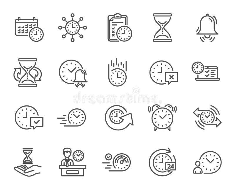 Zeit-Linie Ikonen Satz des Kalender-, Zeitmanagements und der Lieferung Vektor lizenzfreie abbildung