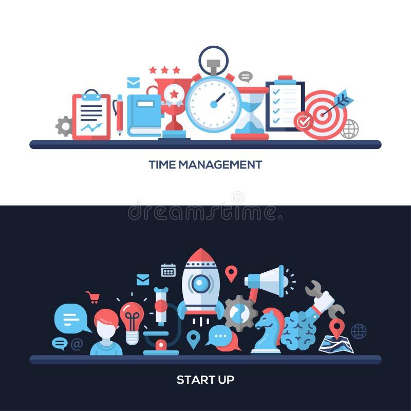 Zeit-Management, beginnen oben flache Konzept- des Entwurfesfahnen, die eingestellten Titel lizenzfreie abbildung