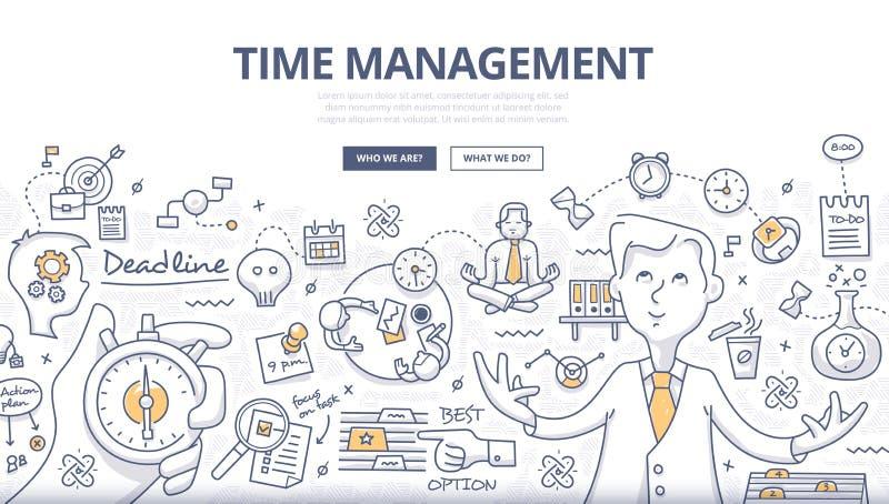 Zeit-Management-Gekritzel-Konzept stock abbildung