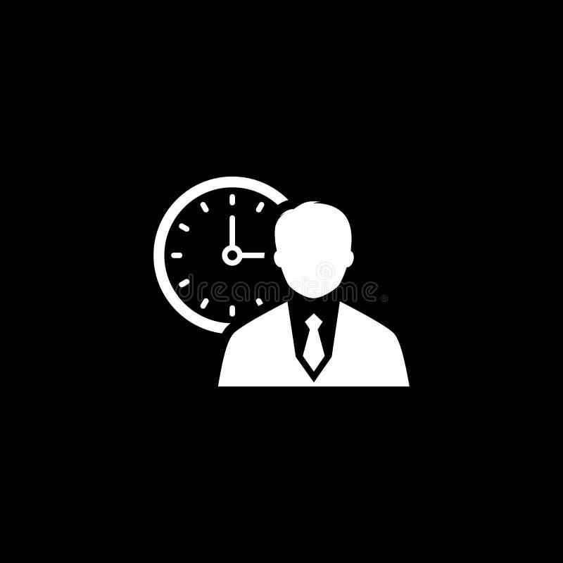 Zeit-Management-Ikonen-Schattenbild eines Geschäftsmannes mit Uhr hinter ihm lizenzfreie abbildung
