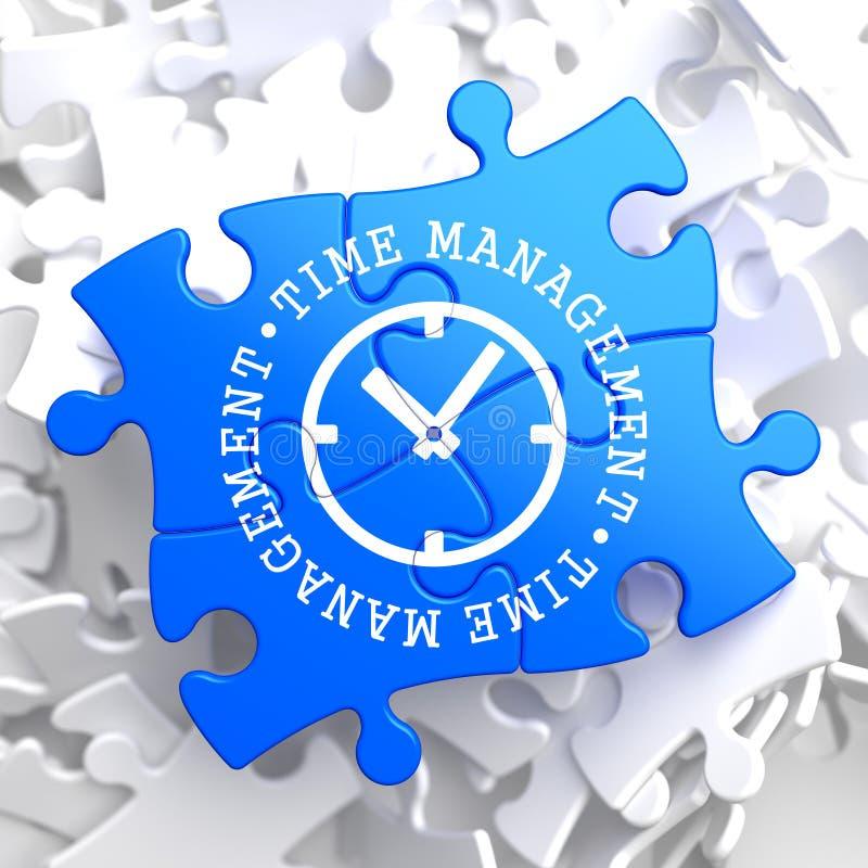 Zeit-Management-Konzept auf blauem Puzzlespiel. lizenzfreie abbildung