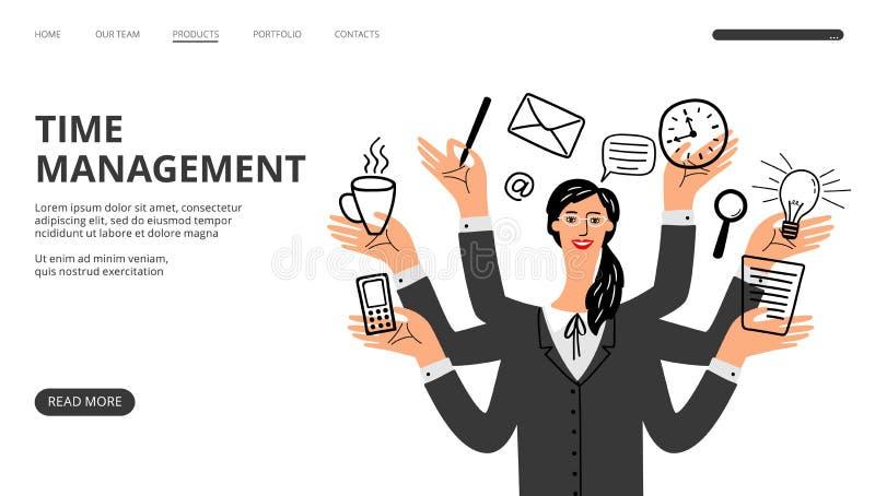 Zeit-Management-Landungs-Seite lizenzfreie abbildung