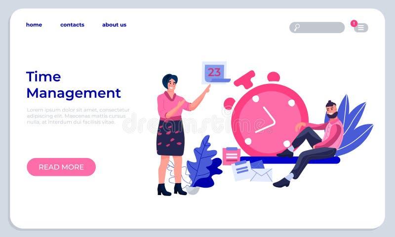 Zeit-Management-Landungs-Seite Produktivitätsverbesserungswebsite und erfolgreich organisierende Arbeitswebseite Vektor lizenzfreie abbildung