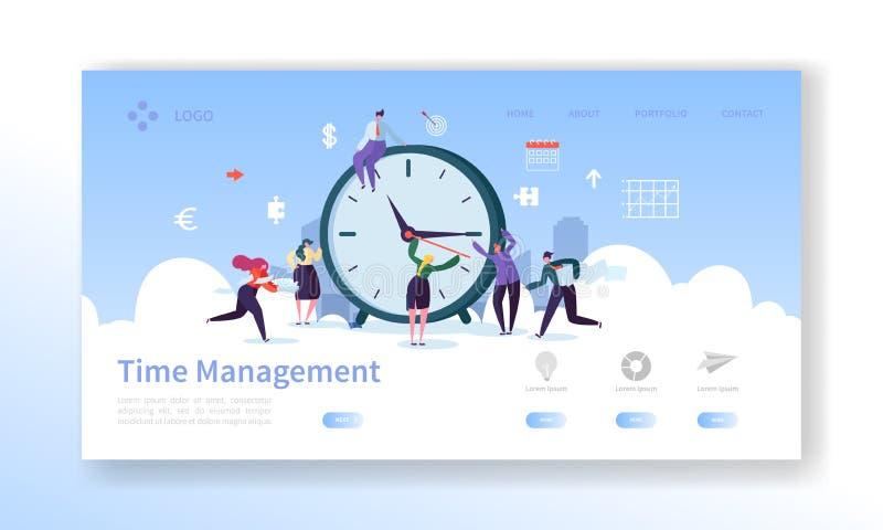 Zeit-Management-Landungs-Seiten-Schablone Planungs-und Strategie-Website-Plan mit flachen Leute-Charakteren und Uhr lizenzfreie abbildung