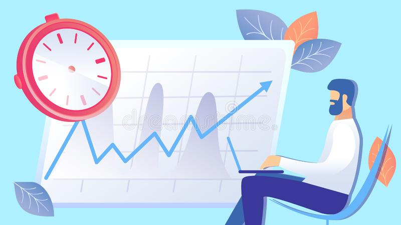 Zeit-Management, Leistungsfähigkeits-Aufstiegs-flache Illustration vektor abbildung