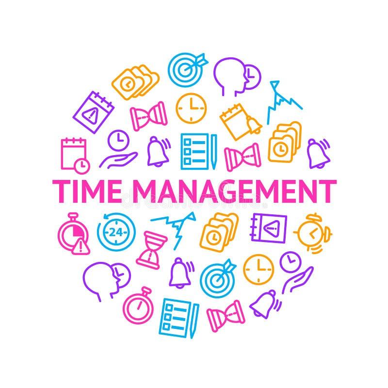 Zeit-Management unterzeichnet dünne Linie ringsum Entwurfs-Schablonen-Anzeige Vektor stock abbildung