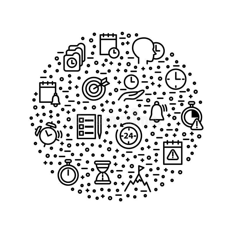 Zeit-Management unterzeichnet schwarze dünne Linie ringsum Entwurfs-Schablone Vektor lizenzfreie abbildung