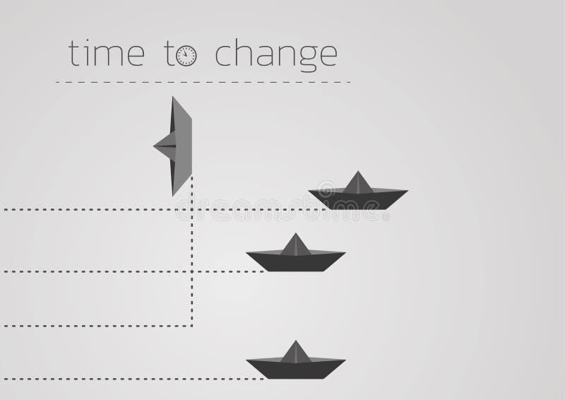 Zeit, mit einem gefalteten Papierboot zu ändern lizenzfreie abbildung