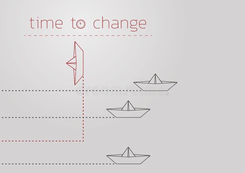 Zeit, mit einem gefalteten Papierboot zu ?ndern lizenzfreie abbildung
