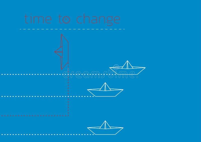 Zeit, mit einem gefalteten Papierboot zu ?ndern vektor abbildung