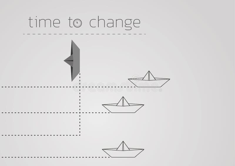 Zeit, mit einem gefalteten Papierboot zu ?ndern stock abbildung