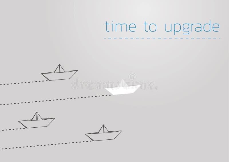 Zeit, mit einem gefalteten Papierboot zu verbessern lizenzfreie abbildung