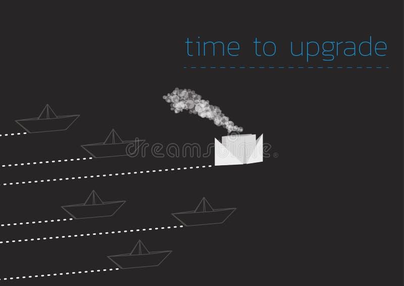 Zeit, mit einem gefalteten Papierboot zu verbessern stock abbildung