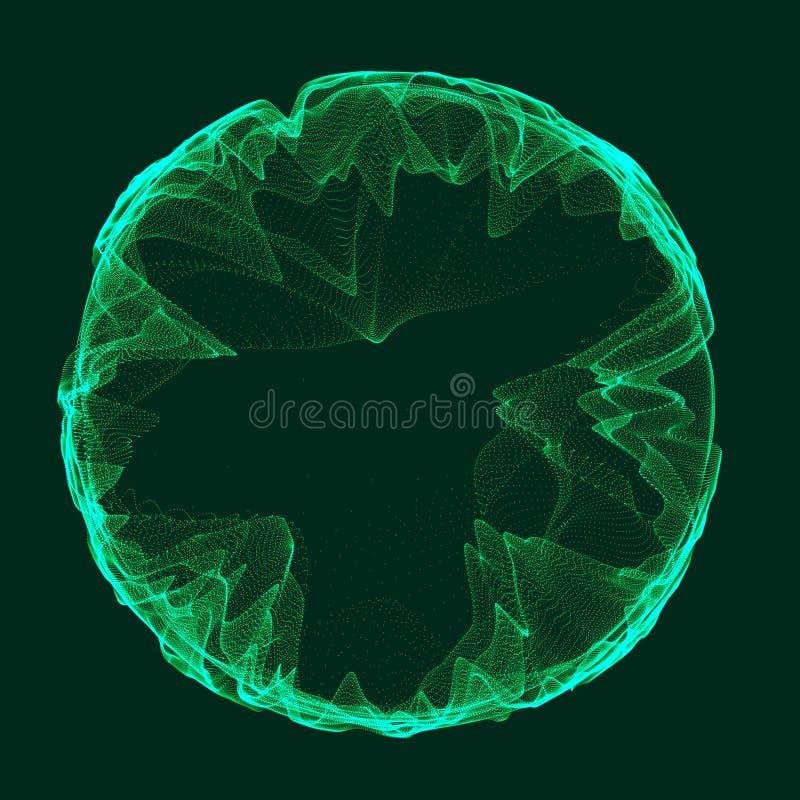 Zeit-raum Grünportal Futuristisches Portal 3d Kosmischer Wormhole Trichter-förmiger Tunnel Wiedergabe 3d stock abbildung