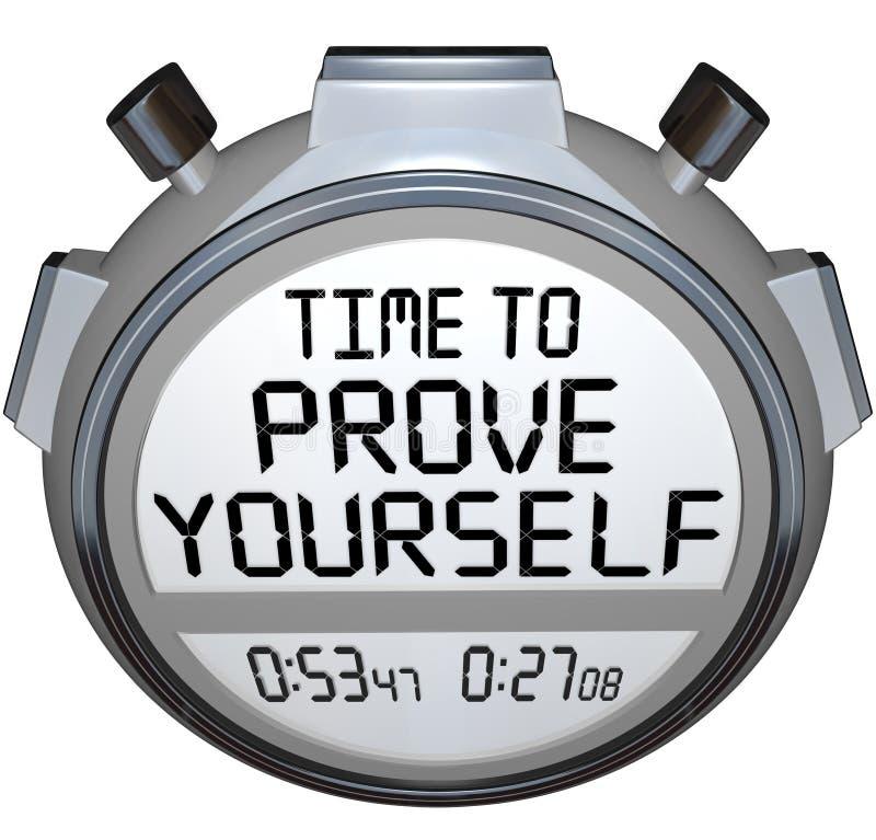 Zeit, sich zu prüfen Stoppuhr-Timer-Wort-Leistung vektor abbildung