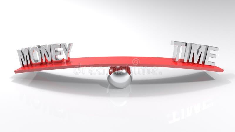 Zeit und Geld an den Gegenseiten einer roten ausgeglichenen Stange - Wiedergabe 3D lizenzfreie abbildung