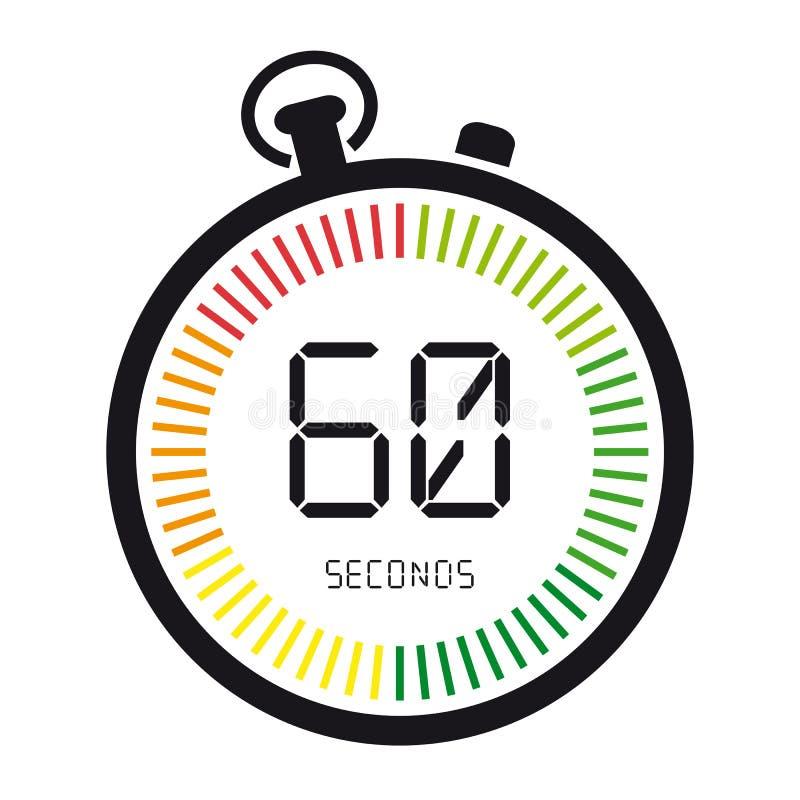 Zeit und Uhr, 60 Sekunden - Vektor-Illustration - lokalisiert auf Weiß lizenzfreie abbildung