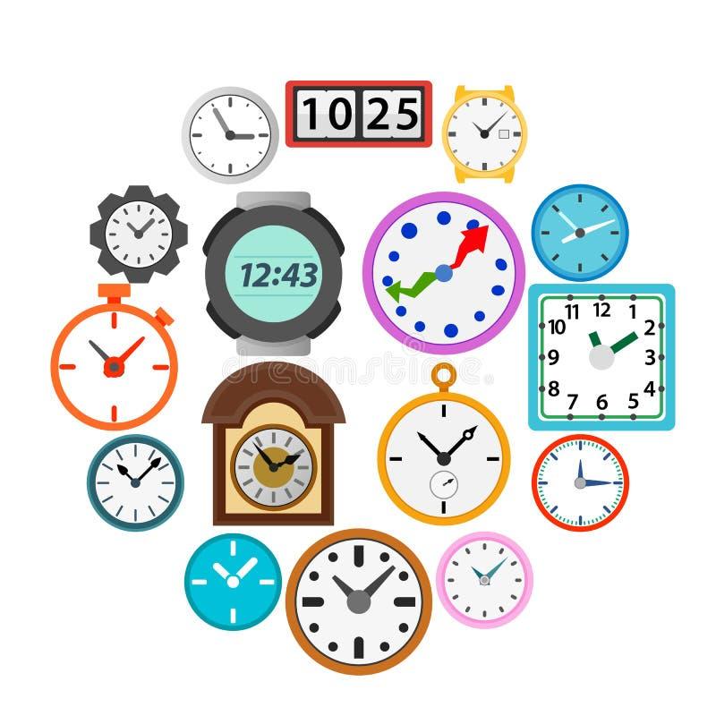 Zeit- und Uhrikonen stellten, einfache Art ein stockfotografie