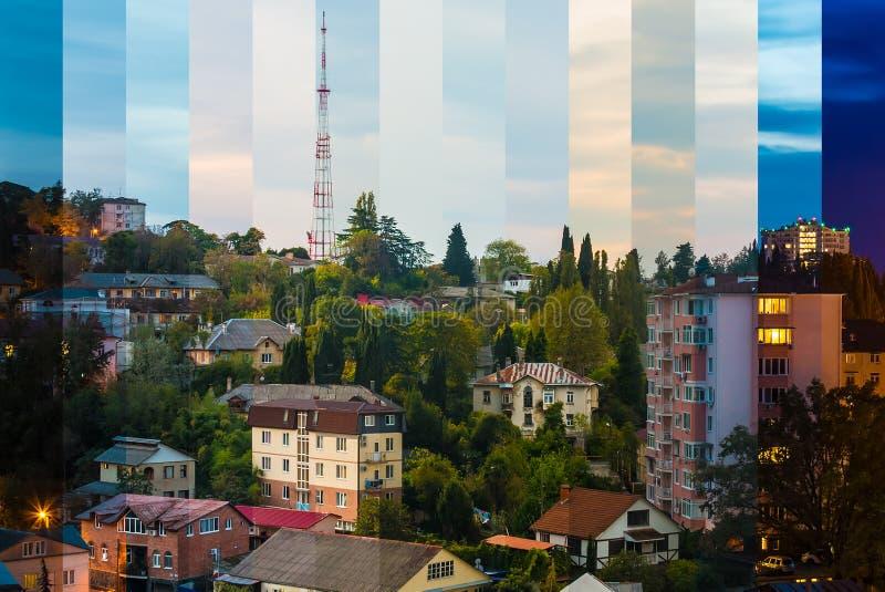 Zeit-Versehencollage von Scheiben von verschiedenen Tageszeiten stockbilder