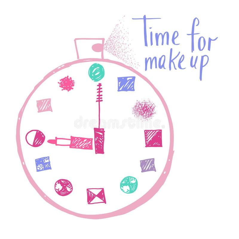 Zeit zu bilden Gestaltungselemente für die Werbung von Kosmetik lizenzfreie abbildung