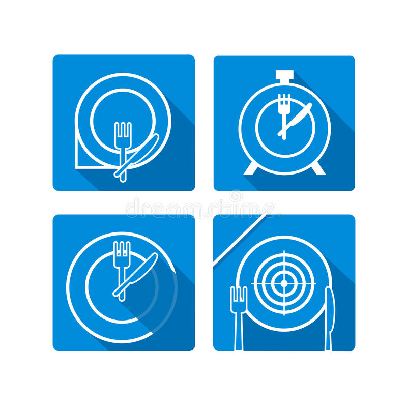 Zeit zu essen Plattenteller mit Gabeln und Messerikonen kreuzweise vektor abbildung