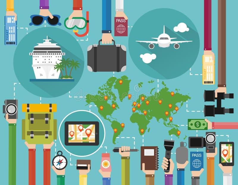Zeit, zu reisen flacher Entwurf eingestellt, Sommerferien mit Fläche, Kreuzschiff und Karte der Erde vektor abbildung