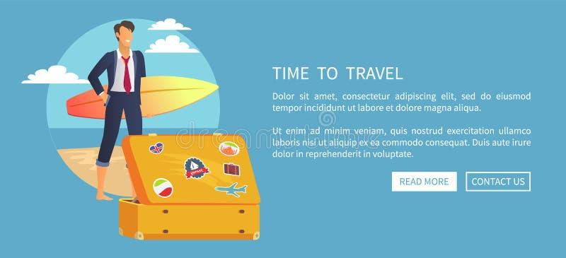 Zeit, zu reisen Netz-Plakat-Druckknöpfe las mehr lizenzfreie abbildung