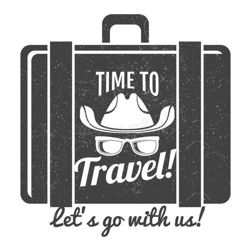 Zeit, zu reisen Schmutzlogodesign stock abbildung