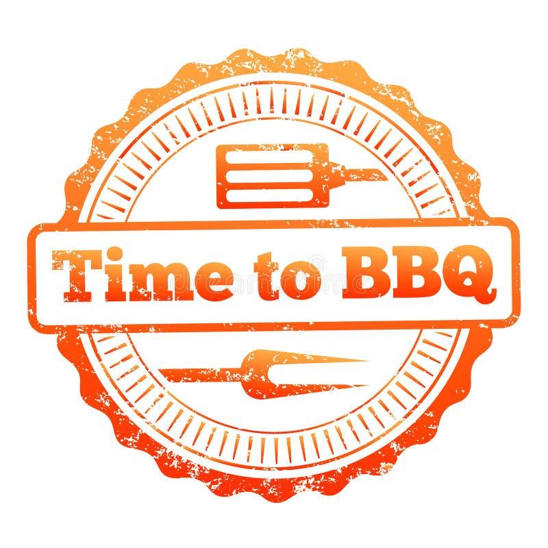 Zeit zum bunten Aufkleberdesign BBQ stock abbildung
