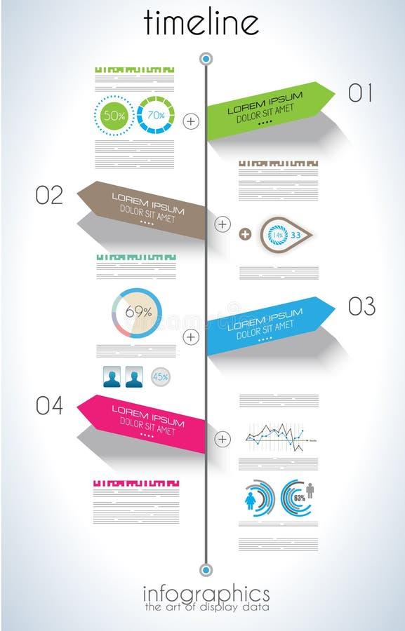 Zeitachse Infographic-Designschablone mit Papiertags stock abbildung