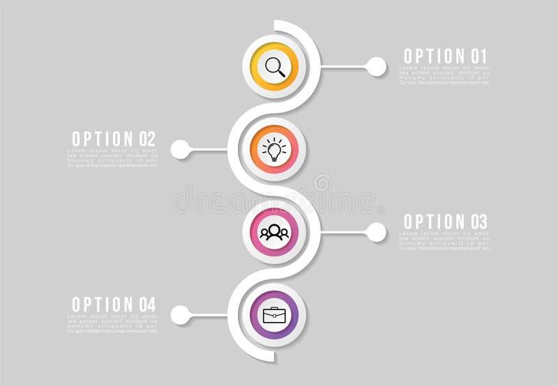 Zeitachse Infographic-Entwurfs-Schablone mit Wahl-Schritten Anfang zum Torlinieprozeß Verwendet für Informationsdiagramm, Darstel stock abbildung
