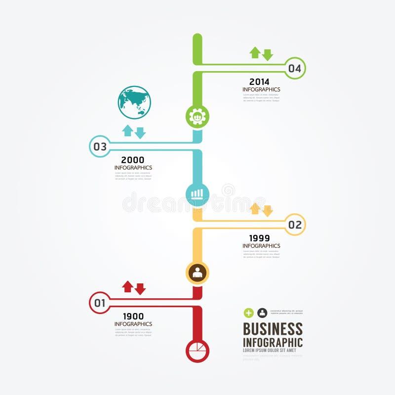 Zeitachse Infographic-Vektor mit Ikonendesignschablone vektor abbildung
