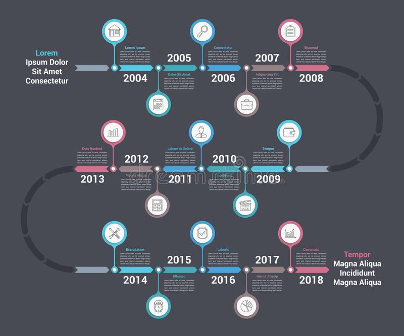 Zeitachse Infographics lizenzfreie abbildung