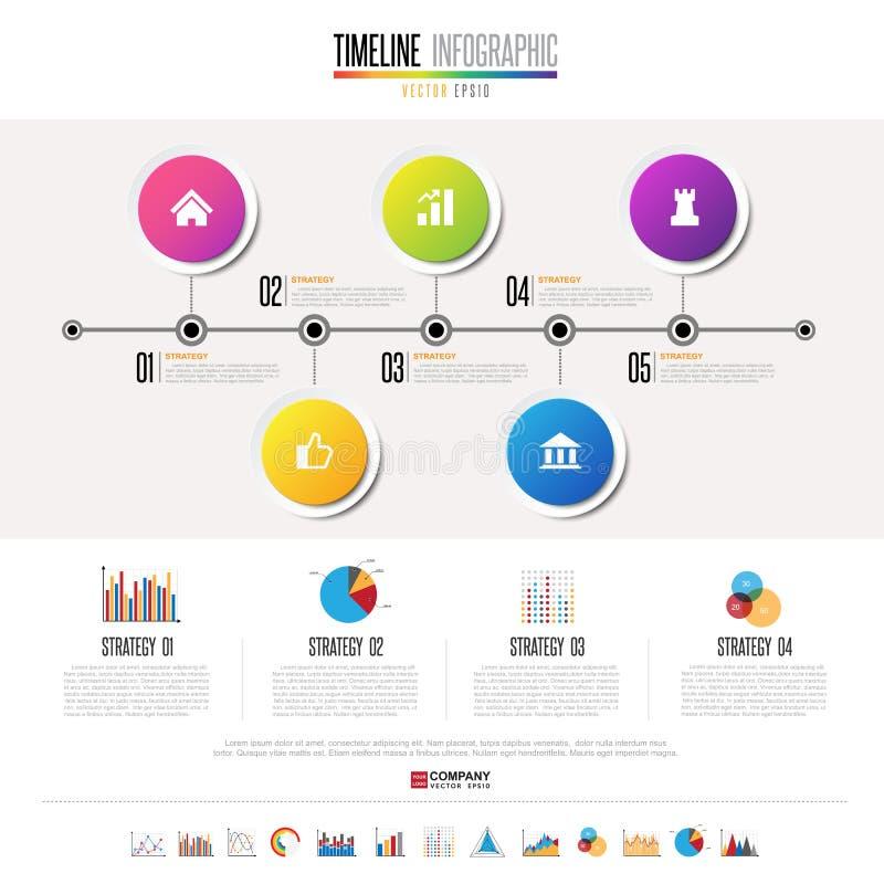 Zeitachse Infographics-Design-Schablone stock abbildung