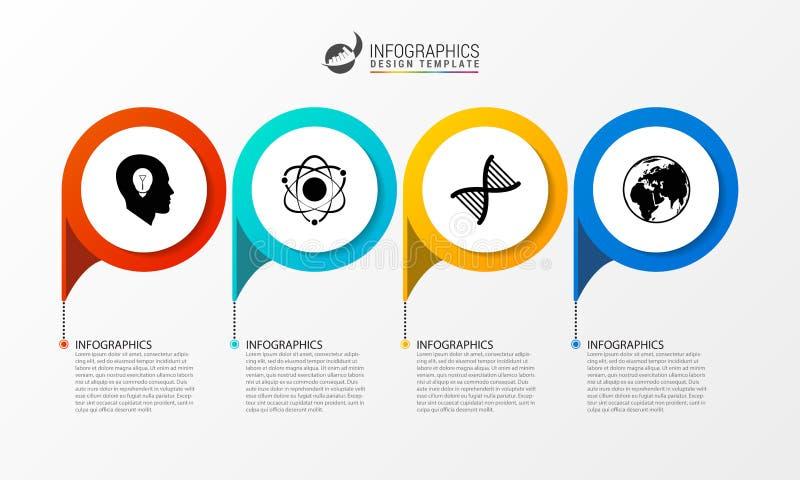 Zeitachse Infographics-Design-Schablone Die goldene Taste oder Erreichen für den Himmel zum Eigenheimbesitze Vektor lizenzfreie abbildung