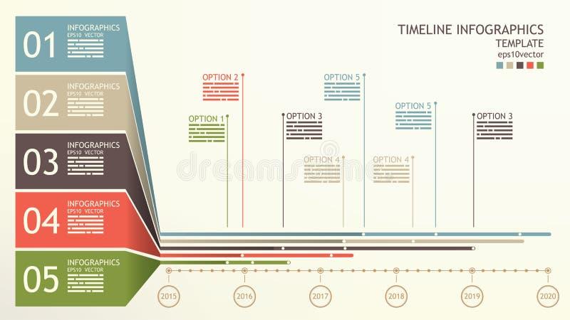 Zeitachse infographics Schablone lizenzfreie abbildung