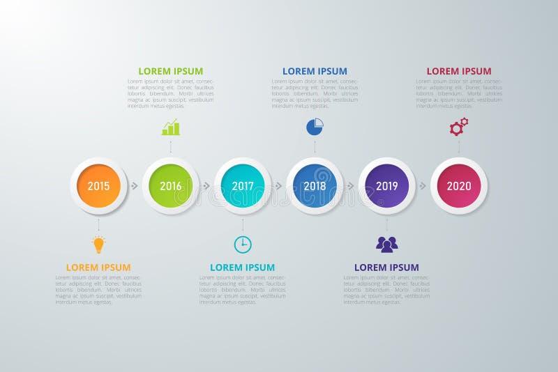 Zeitachse Infographics-Schablone für Geschäft, Bildung, Webdesign, Fahnen, Broschüren, Flieger lizenzfreie abbildung