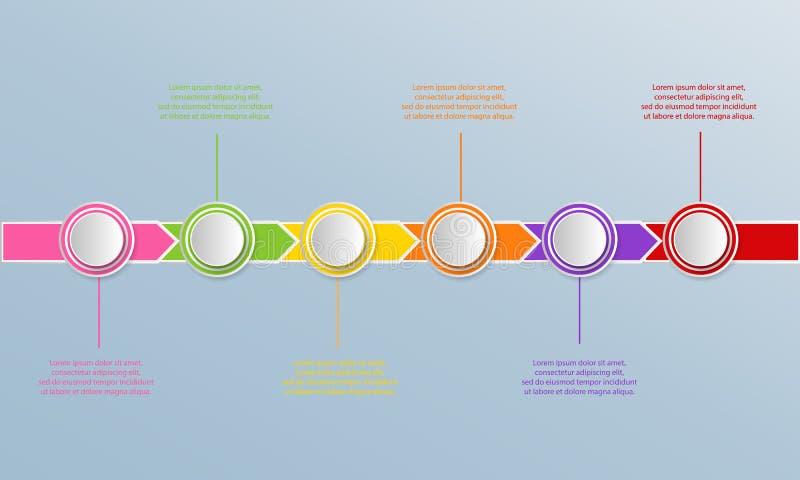 Zeitachse infographics Schablone mit Pfeilen, Flussdiagramm, Arbeitsfluß vektor abbildung