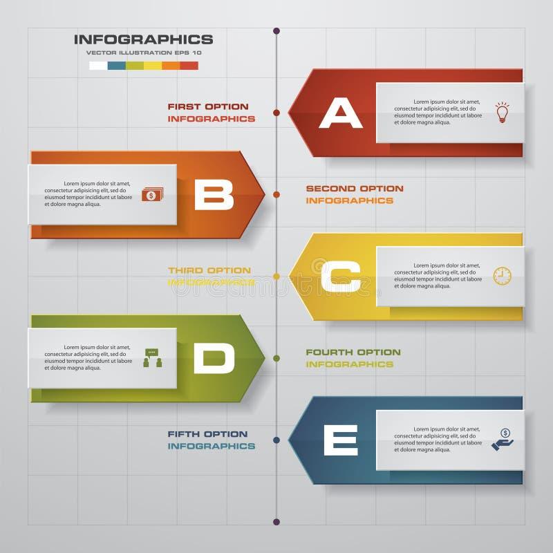 Zeitachse infographics, 5 Schrittelemente und Ikonen Zahl-Fahnenschablone des Designs saubere stock abbildung